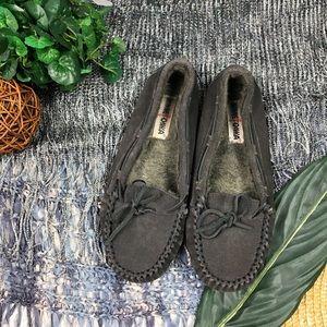 Minnetonka Gray Soft Faux Fur Moccasins Size 9M